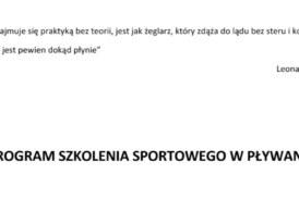 Powstał nowy program szkolenia sportowego w pływaniu oparty na zaleceniach prof. Olbrechta